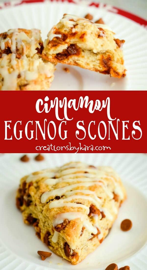 cinnamon eggnog scones recipe collage