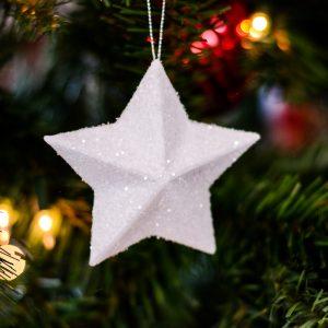 white star ornament with glitter