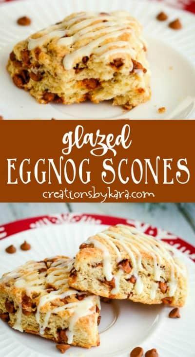 glazed eggnog scones recipe collage