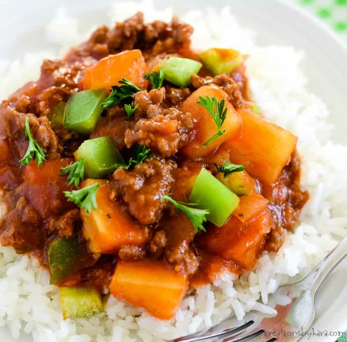 sweet and sour beef with pineapple and green peppers