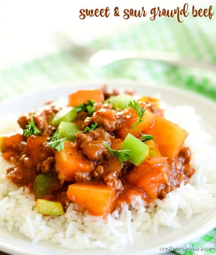 plate of rice topped with sweet and sour ground beef