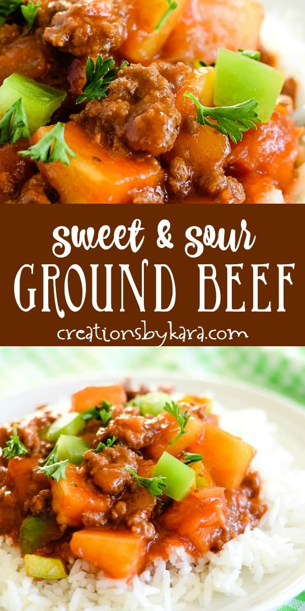 sweet and sour ground beef recipe collage
