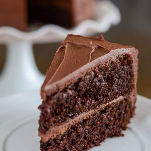 slice of frosted moist chocolate cake on a plate