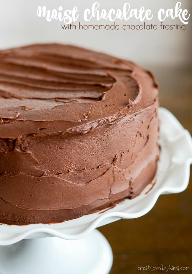 two layer chocolate cake with chocolate frosting title photo