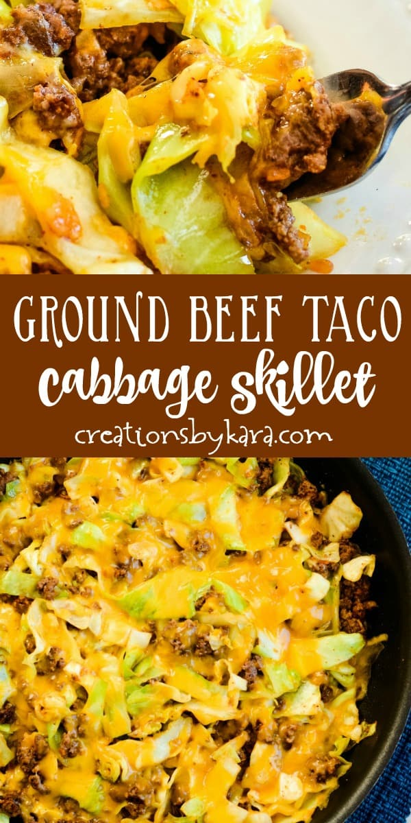 ground beef taco skillet cabbage recipe collage