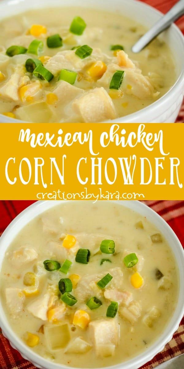 mexican chicken corn chowder recipe collage