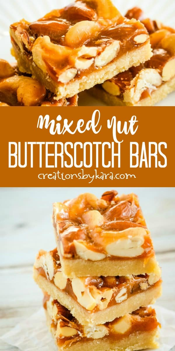 mixed nut butterscotch bars recipe collage