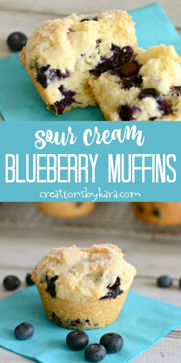 sour cream blueberry muffins recipe collage