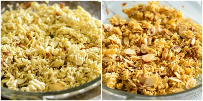 how to toast ramen noodles and almonds for broccoli slaw