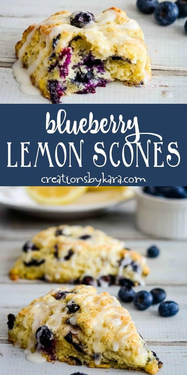 blueberry lemon scones recipe collage