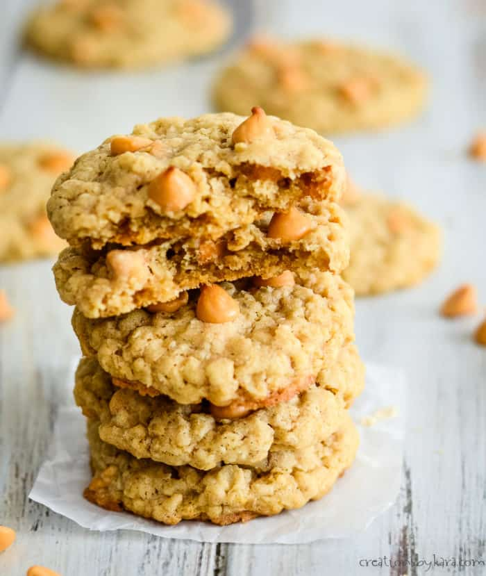 stack of oatmeal cookies with butterscotch morsels
