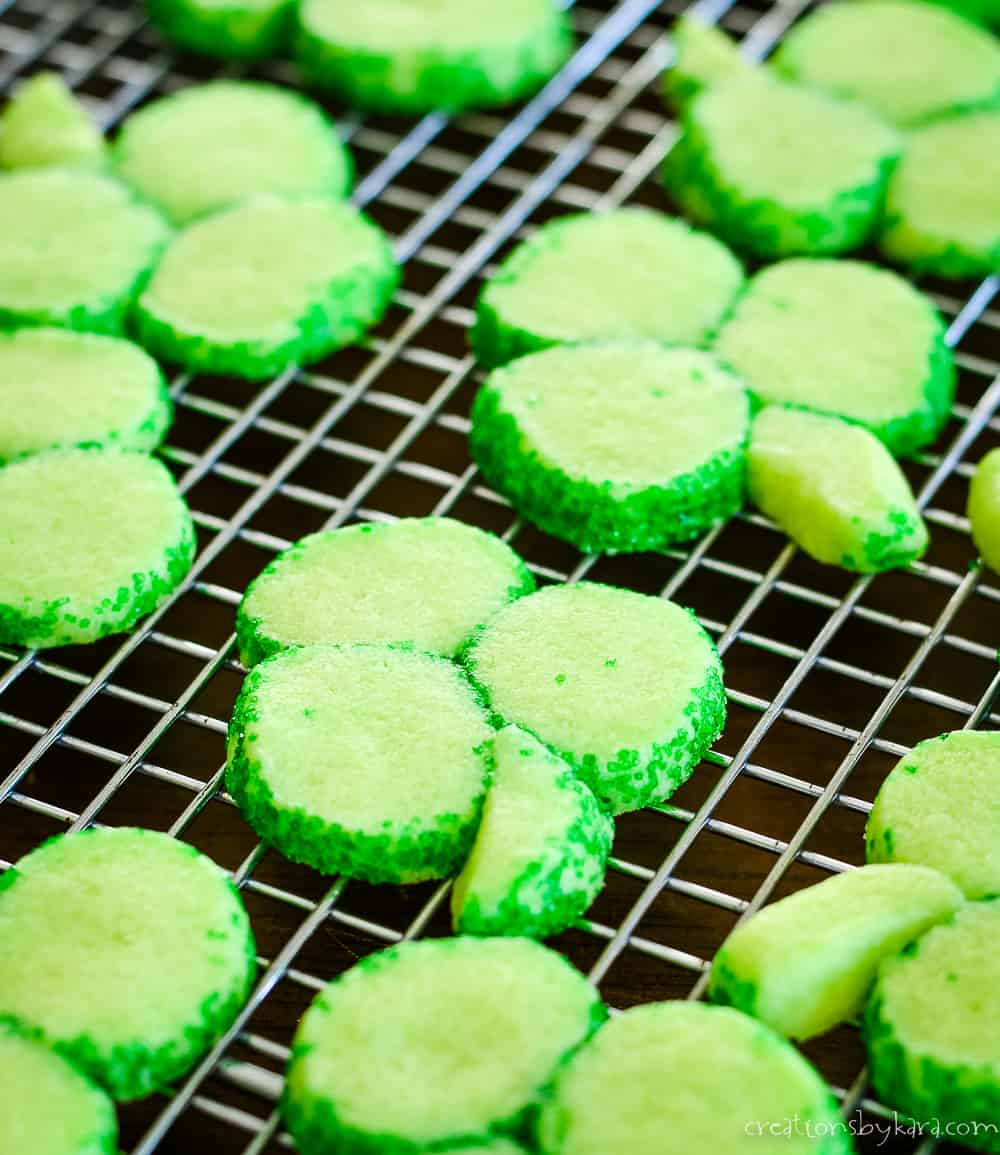 shamrock shortbread cookies on a cooling rack