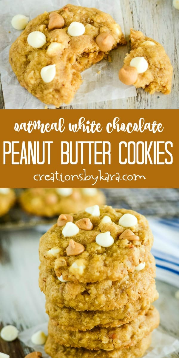 oatmeal white chocolate peanut butter cookies recipe collage