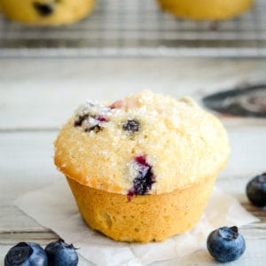 whole wheat blueberry muffin on waxed paper