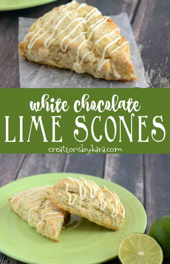 white chocolate lime scones recipe collage