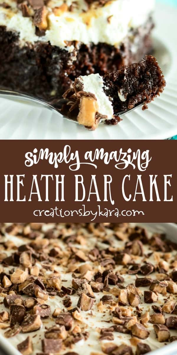 simply amazing heath bar cake recipe collage