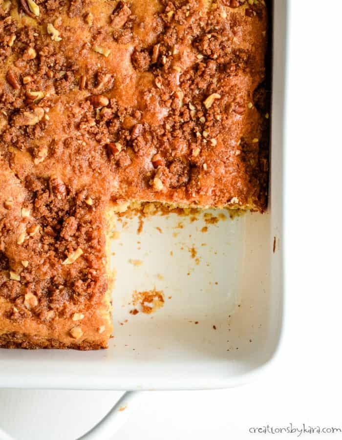 overhead shot of coffee cake with cinnamon pecan streusel