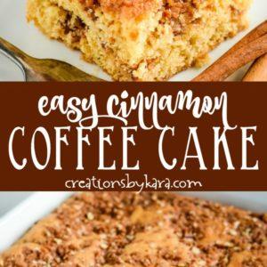 easy cinnamon coffee cake recipe collage