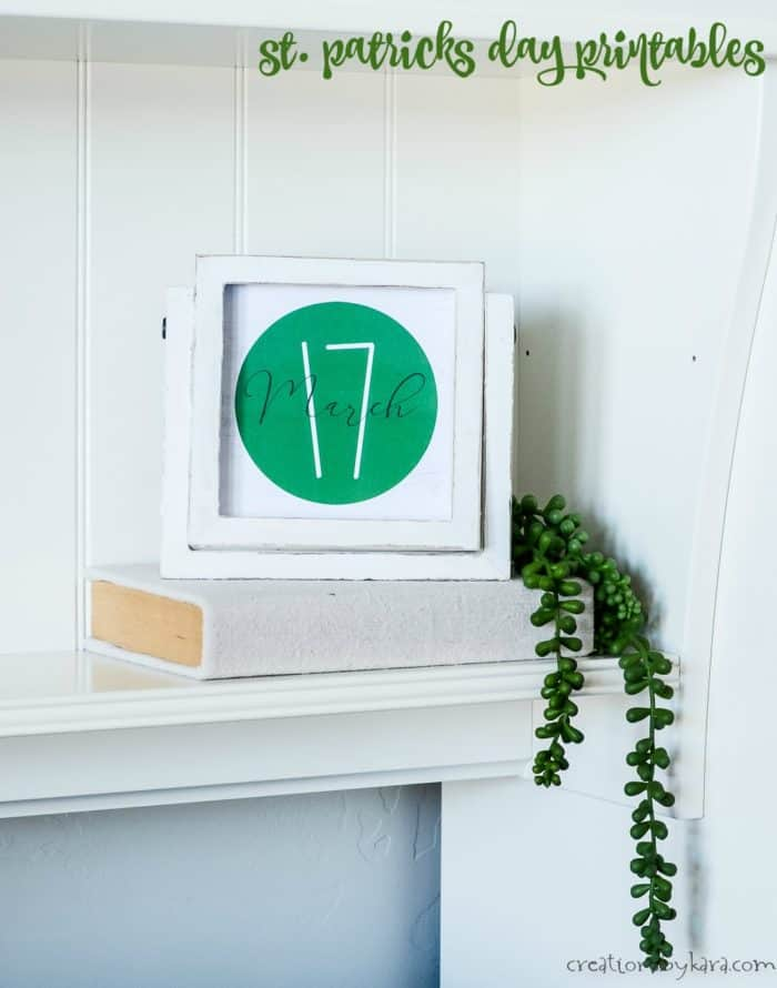 March 17 farmhouse style printable in white frame
