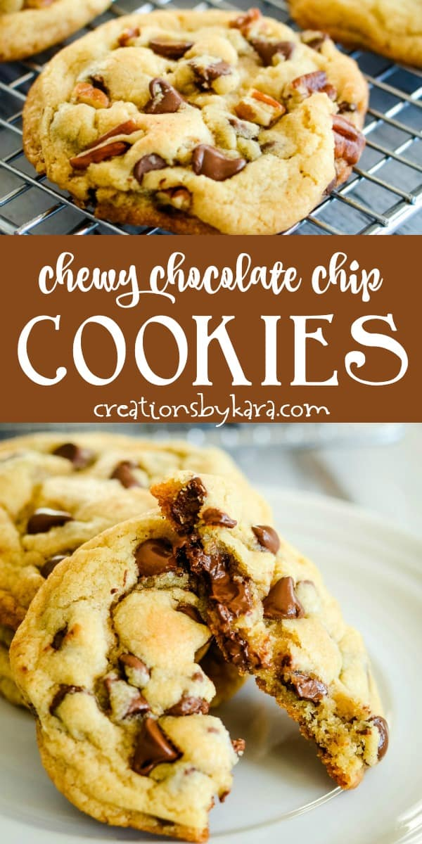 chewy chocolate chip cookie recipe collage