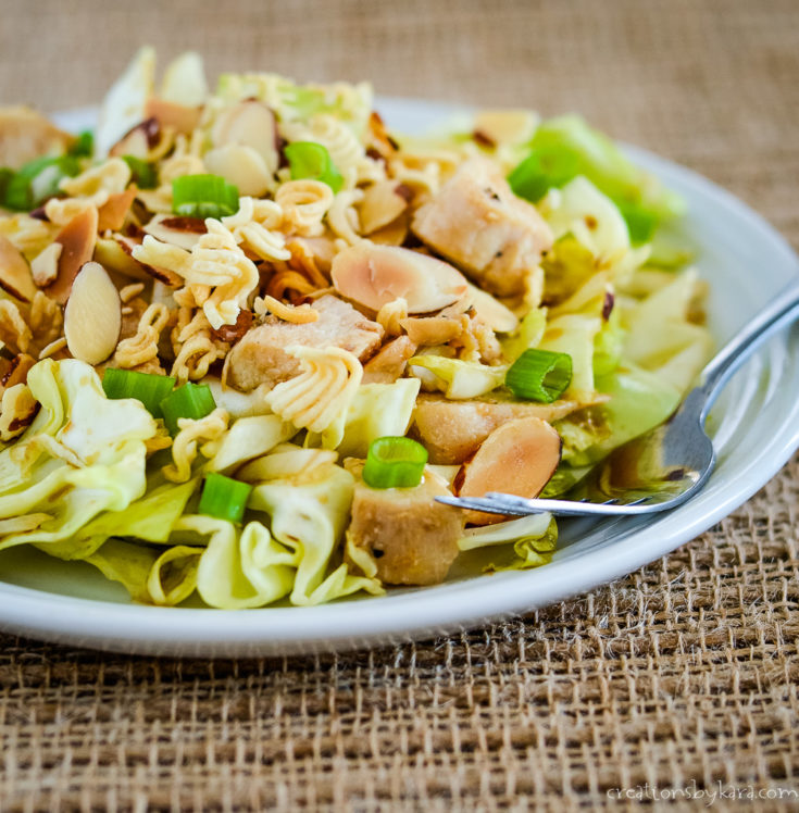 raman cabbage salad on a plate