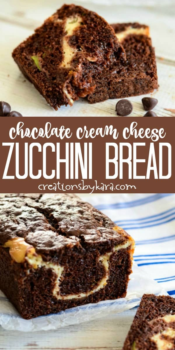 chocolate cream cheese zucchini bread recipe collage