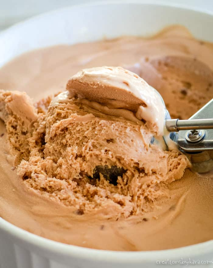 chocolate caramel ice cream being scooped