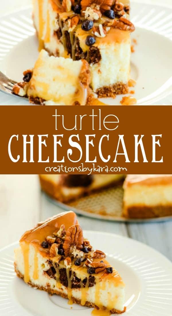 turtle cheesecake recipe collage