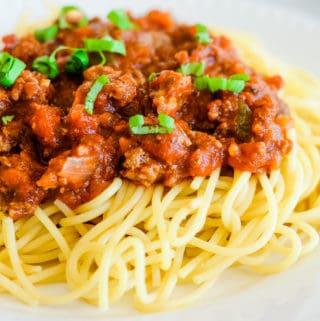 meaty marinara sauce over hot pasta topped with fresh basil