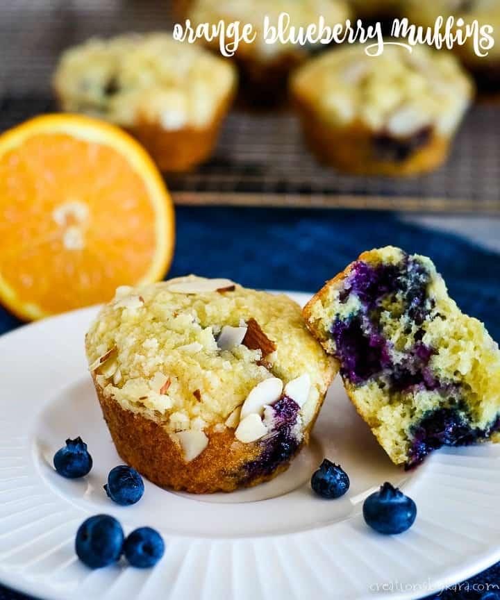 orange blueberry muffin recipe title photo
