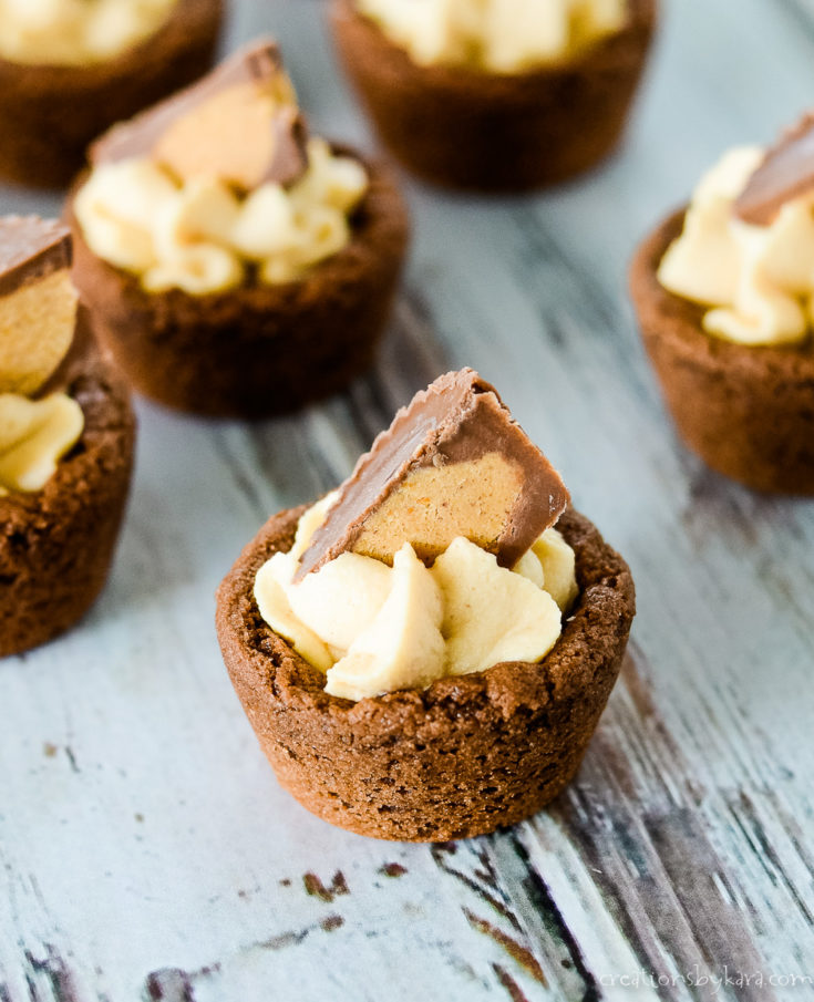chocolate cookie cups with peanut butter mousse
