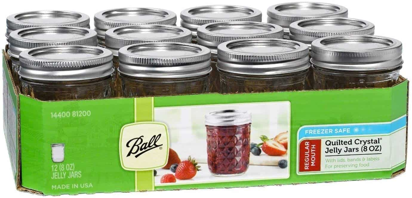 Mason Jar W/ Lid & Band, Regular Mouth, 8 Ounces, 12 Count