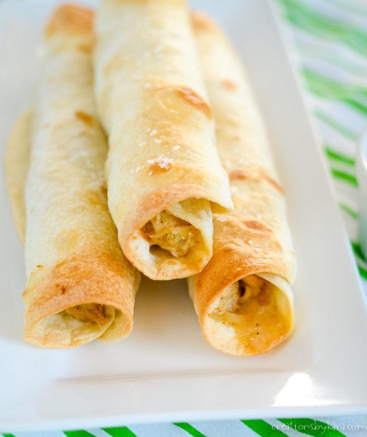 baked cheesy chicken flautas