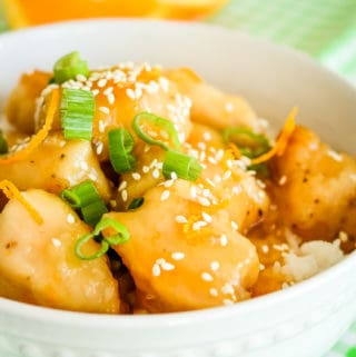 easy orange chicken over rice