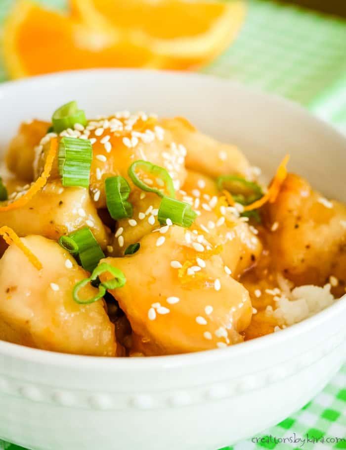 easy orange chicken over rice