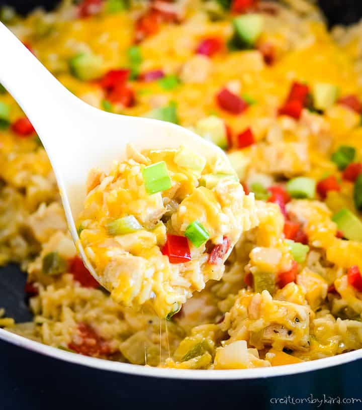 spoonful of chicken fajita rice