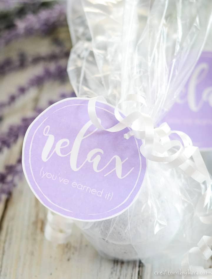 calming lavender bath bombs with gift tag