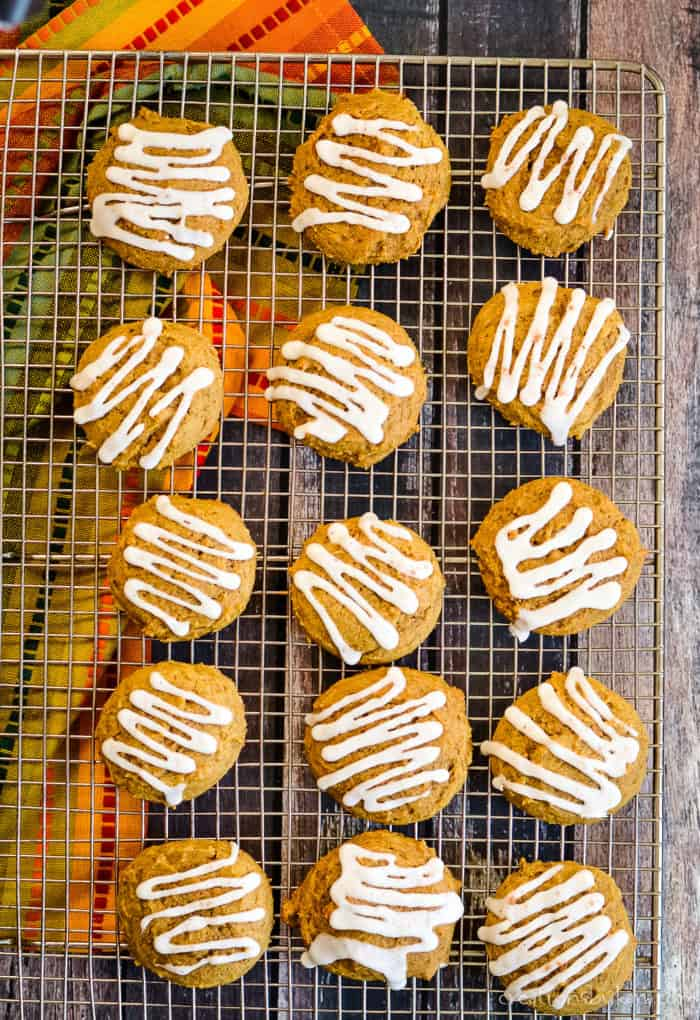 easy pumpkin cookies on a cooling rack