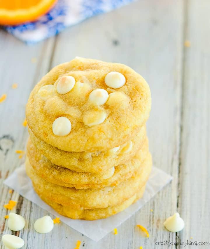 overhead shot of orange creamsicle cookies