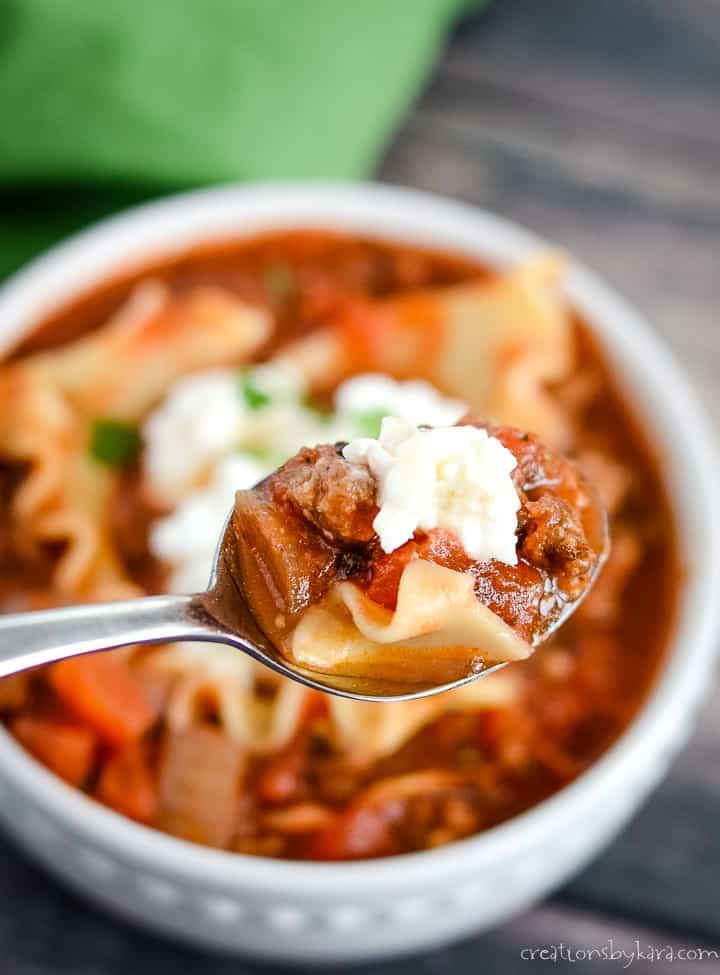 bowl of lasagna soup