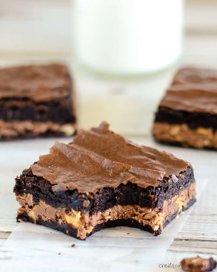 candy bar brownies with symphony bars