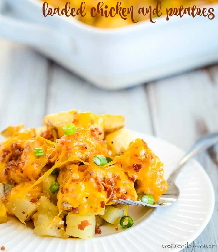 chicken and potatoes with bacon and cheese