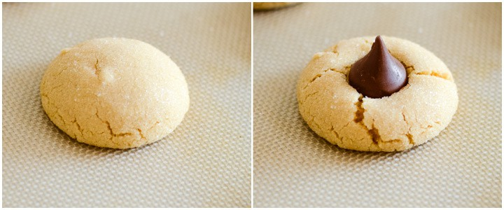 adding kisses to peanut butter chocolate kiss cookies
