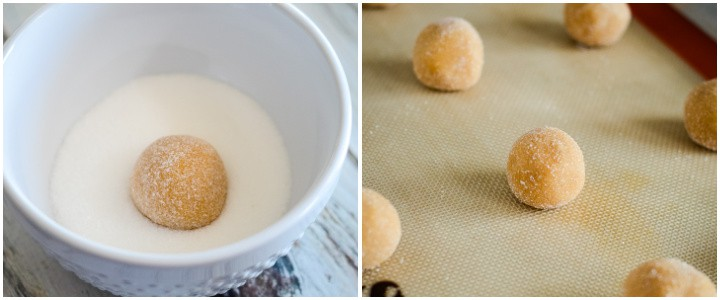 instruction photos for rolling peanut butter cookie dough in sugar