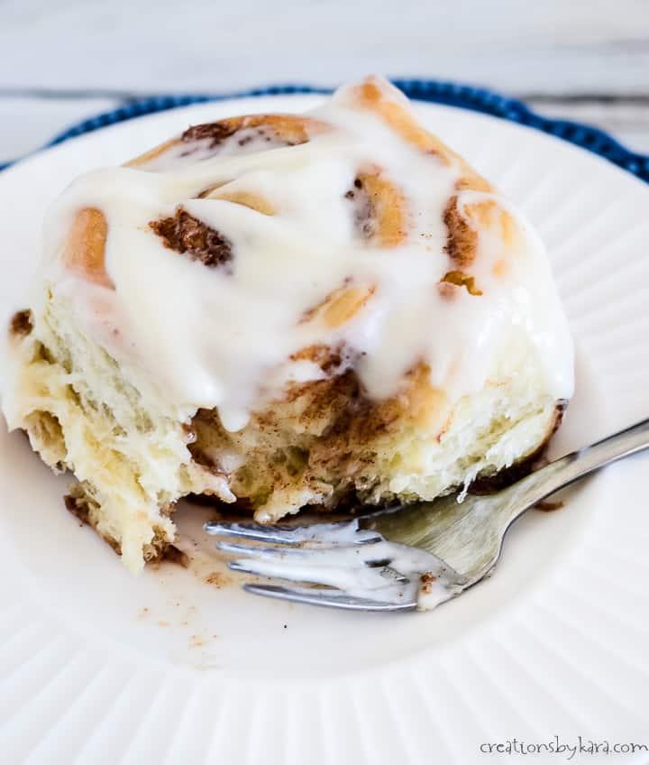 fluffy cinnamon roll on a plate
