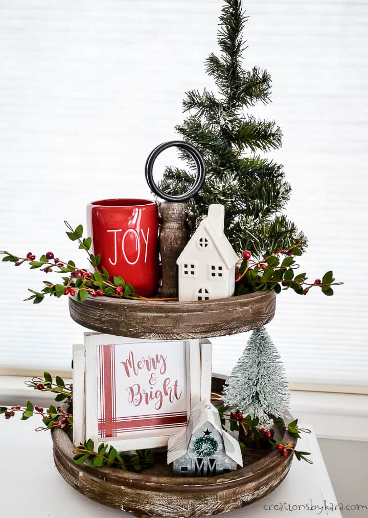 Merry and Bright sign on a Christmas tiered tray
