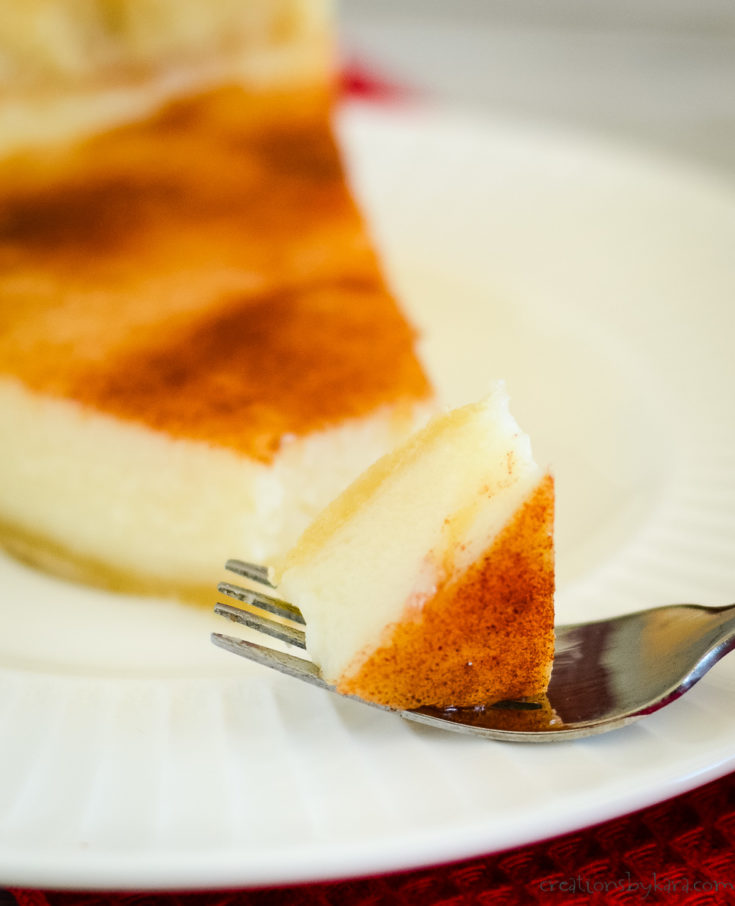 slice of homemade sugar cream pie with a piece on a fork
