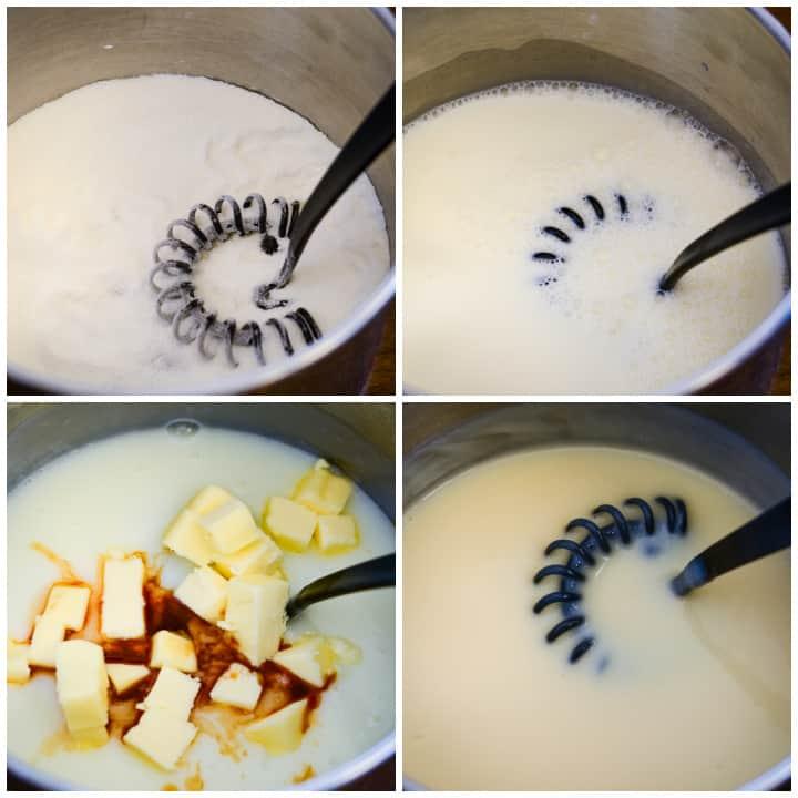 steps for making hoosier pie filling in a saucepan