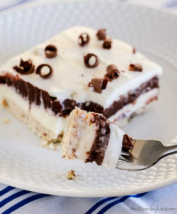 bite of chocolate layer dessert on a fork
