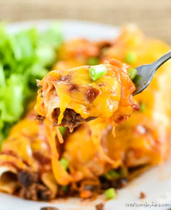 black bean ground beef enchiladas